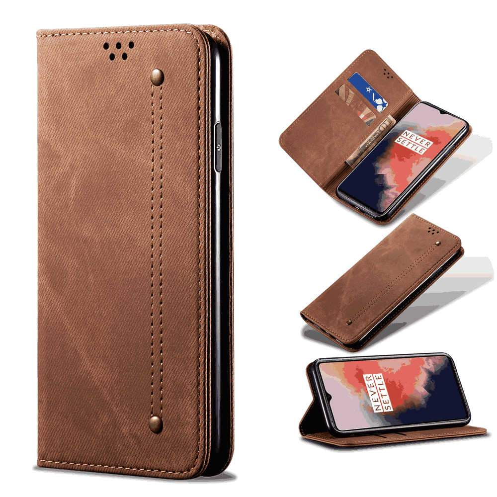 Oneplus 7T Leather Case Retro Wallet Phone Protective Cover with Card Slots Khaki