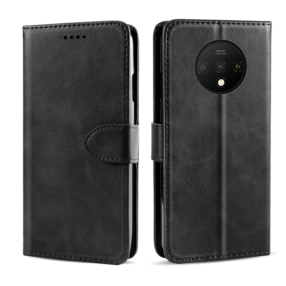 Oneplus 7T Leather Case Bumper TPU Shell with Stand Card Holder for Oneplus 7T Black