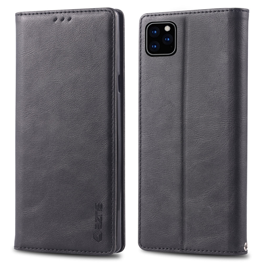 iPhone 11 pro max Leather Cover Ultra Thin Anti-Slip Vintage Shell with Card Slots Black
