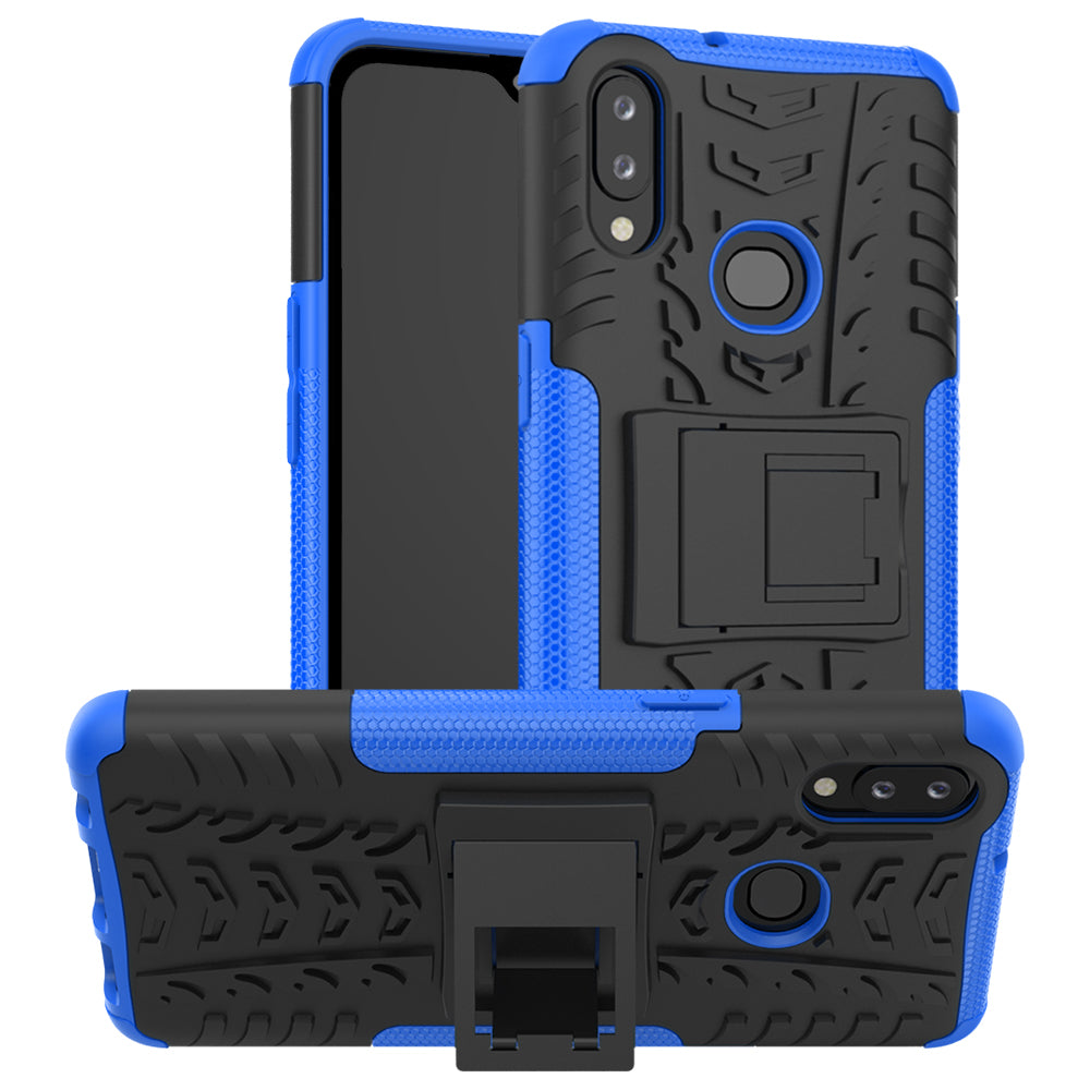 Samsung Galaxy A10s Case Shockproof Tough Rugged Dual Layer Protective Case Hybrid Kickstand Cover Dark Blue