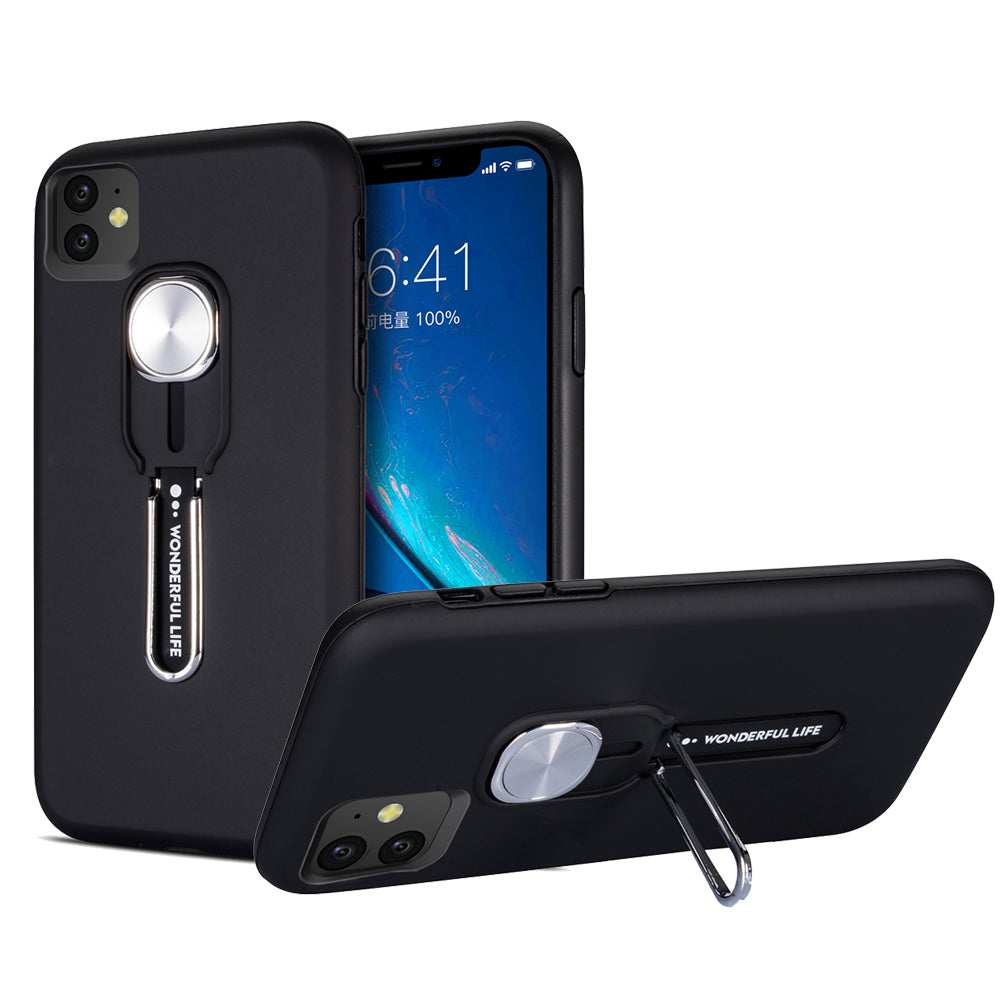 iPhone 11 Case Shock-Absorbing Hard PC + Flexible TPU Armor Case with Stand Black