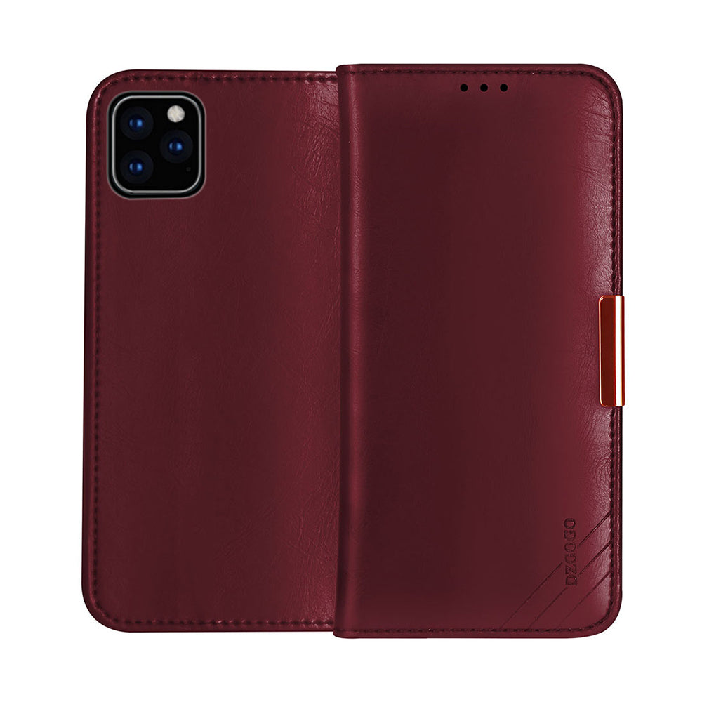 iPhone 11 pro Wallet Case Genuine Leather Multi-function Dustproof Anti-scratch Phone Cover Red