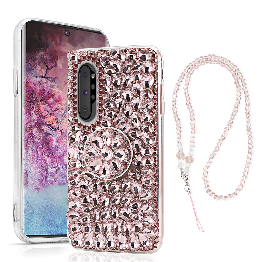 Girls Bling Case for Galaxy Note 10 plus Shine Crystals Rhinestone Cover with Stand Pink