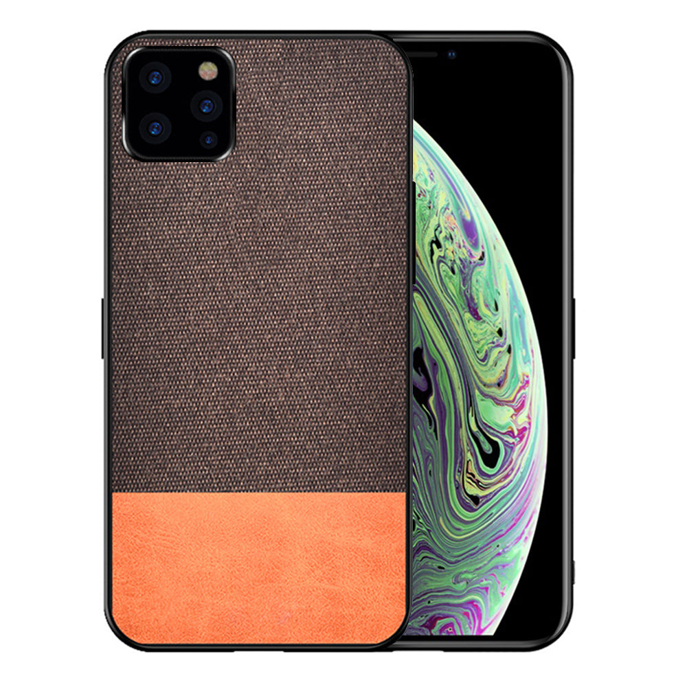 Fabric Case for iPhone 11 pro max TPU & PC Shockproof Phone Cover Brown