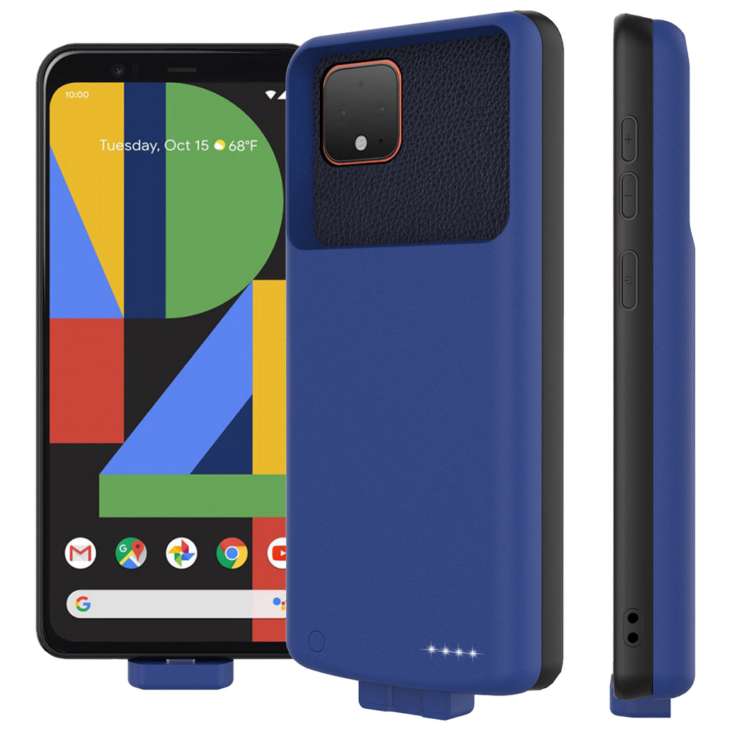 Battery Case for Google Pixel 4 XL Protection Phone Case 7000mah Power Bank Extended Pack Blue