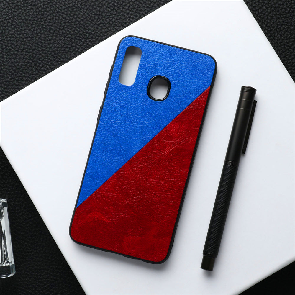 Samsung Galaxy A20 Case PU Leather Shockproof Case Spilicing Color Cover Blue+Red