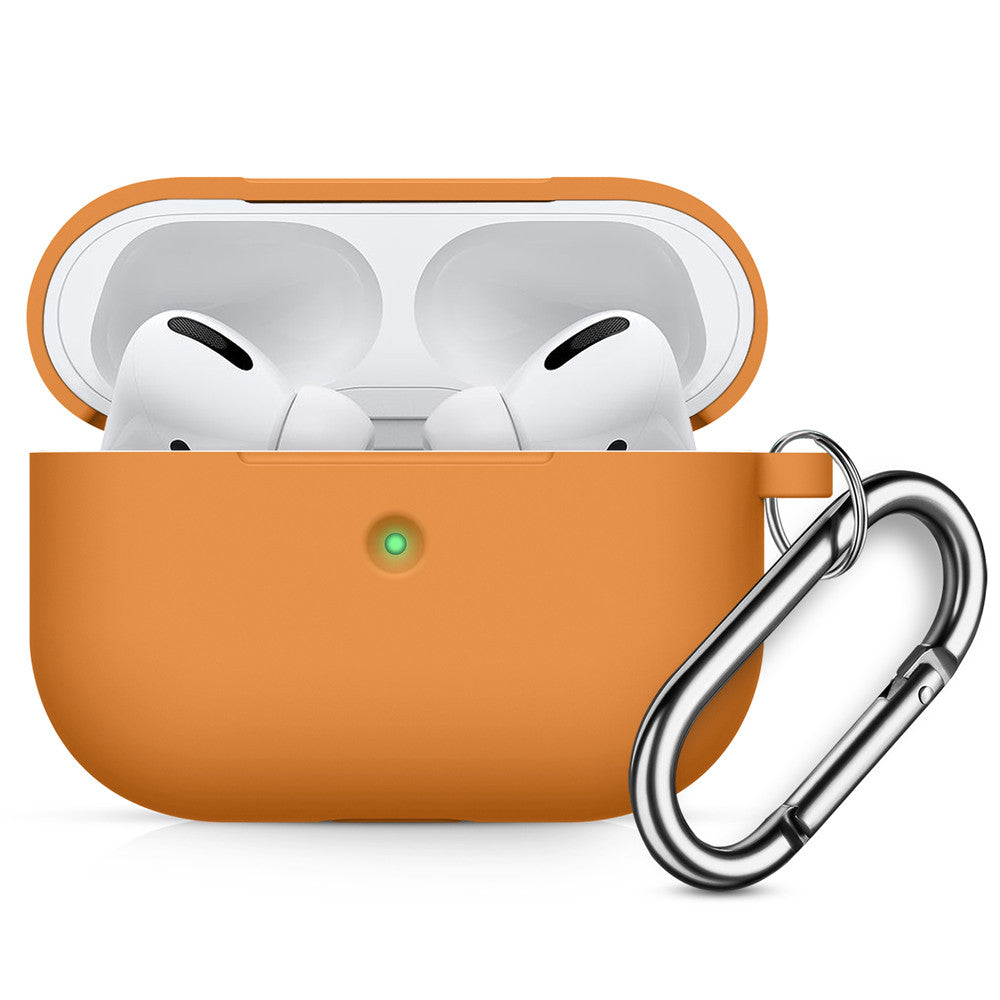 Airpods Pro Case Full Protective Shockproof Drop Proof Silicone Cover with Keychain Airpods Accesssories Orange