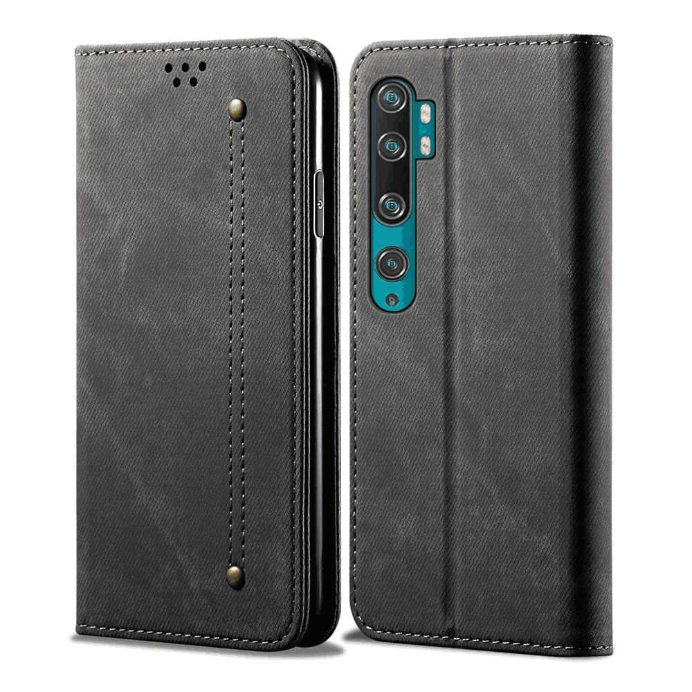 Xiaomi mi note 10 Leather Case Retro Cowhide Wallet Phone Protective Cover with Card Slots Black