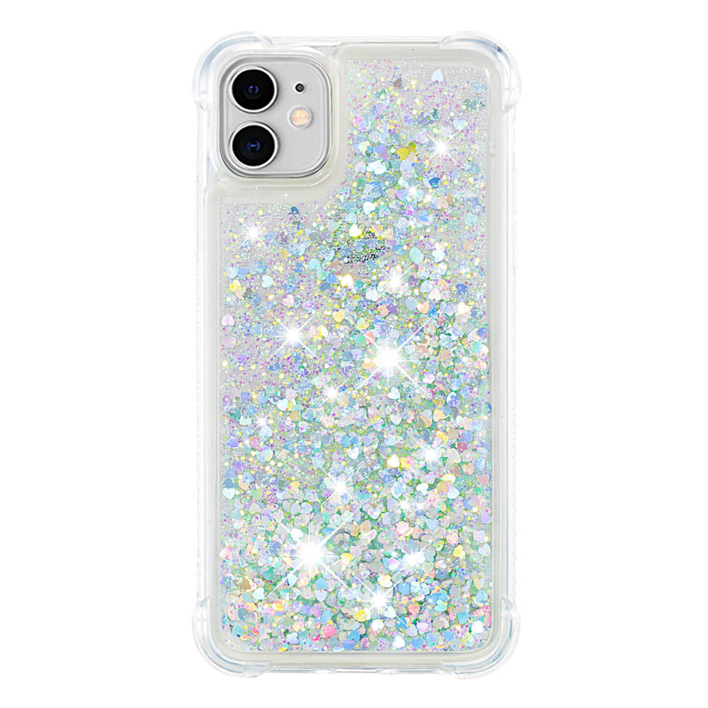 iPhone 11 Case Glitter Waterfall Bling Floating Sparkle Full Protection Cover White