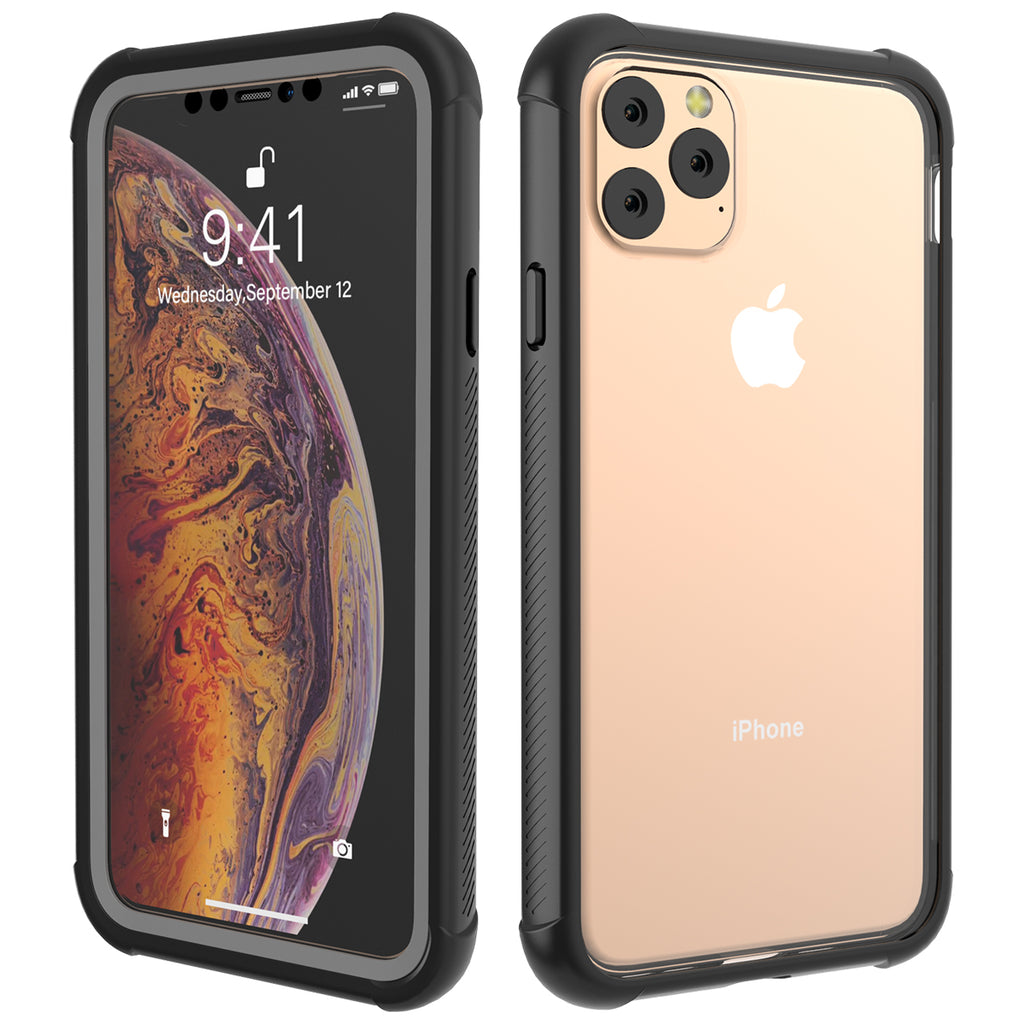 iPhone 11 pro max Phone Case Built-In Screen Protector Shock Resistant Case Black