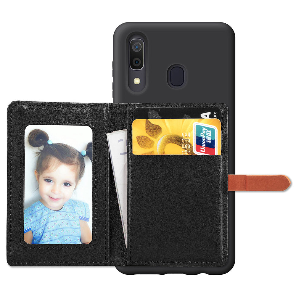 Samsung Galaxy A20 Wallet Case with Cash Pocket Magnetic Closure Cardholder Cases Black