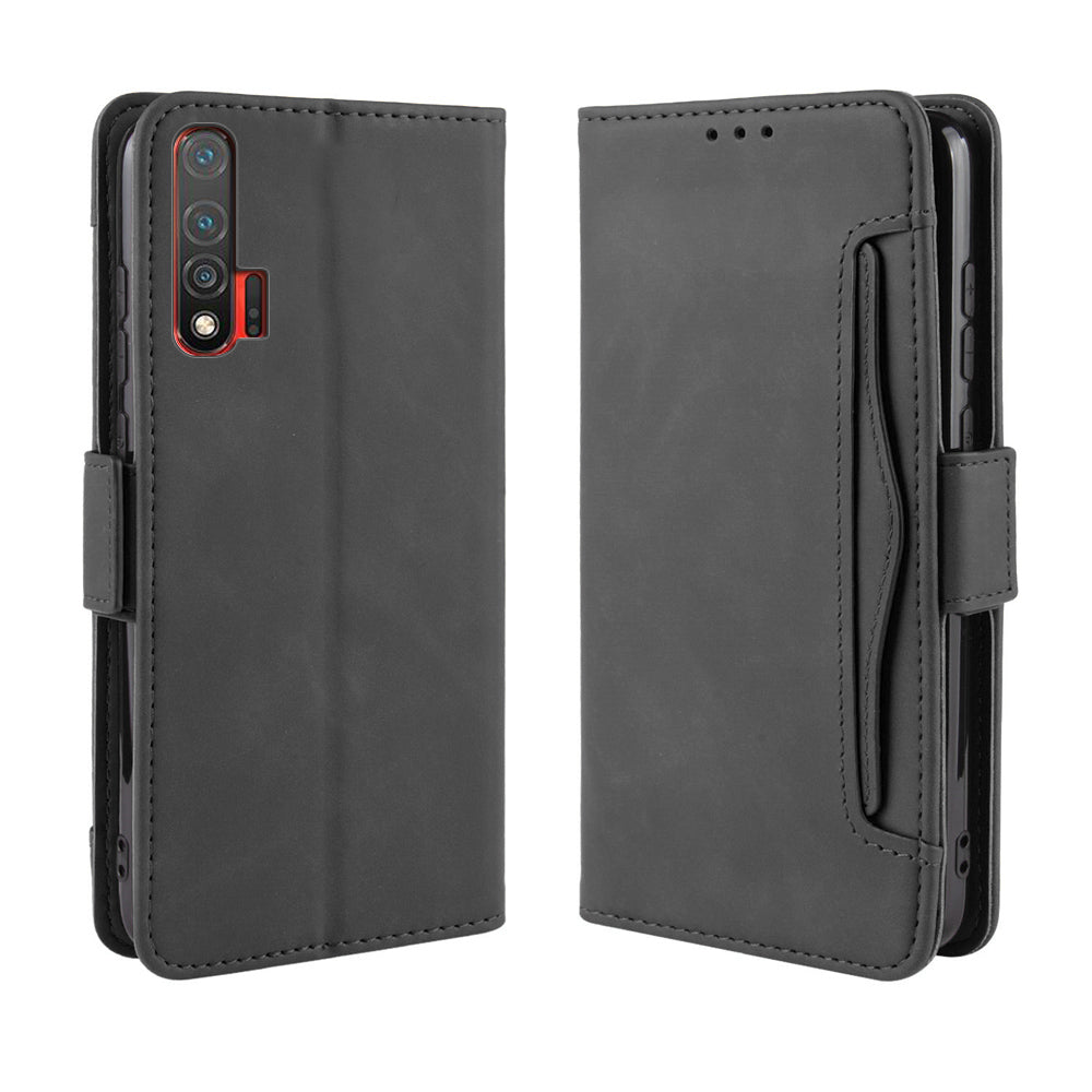 Huawei nova 6 Wallet Case with Kickstand Magnetic Closure Card Holder Leather Case Black