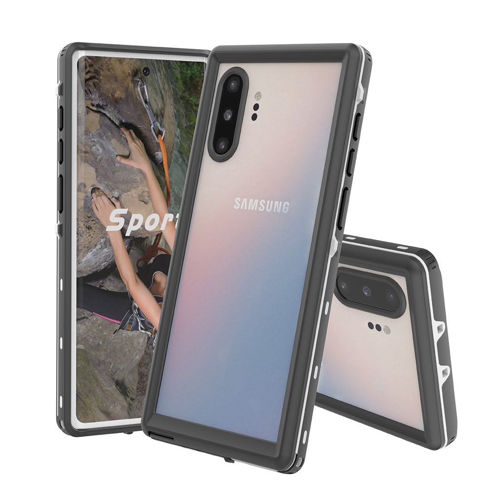 Galaxy Note 10 Plus Waterproof Case Built-in Screen Protector 360 Shockproof Protective Case White