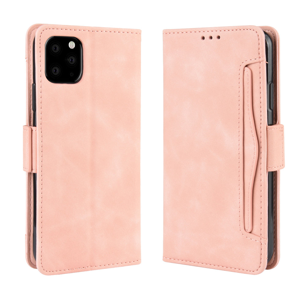 iPhone 11 Pro Leathe Case Flip Folio Case with 5 Card Slots & Kickstand for Girls Pink
