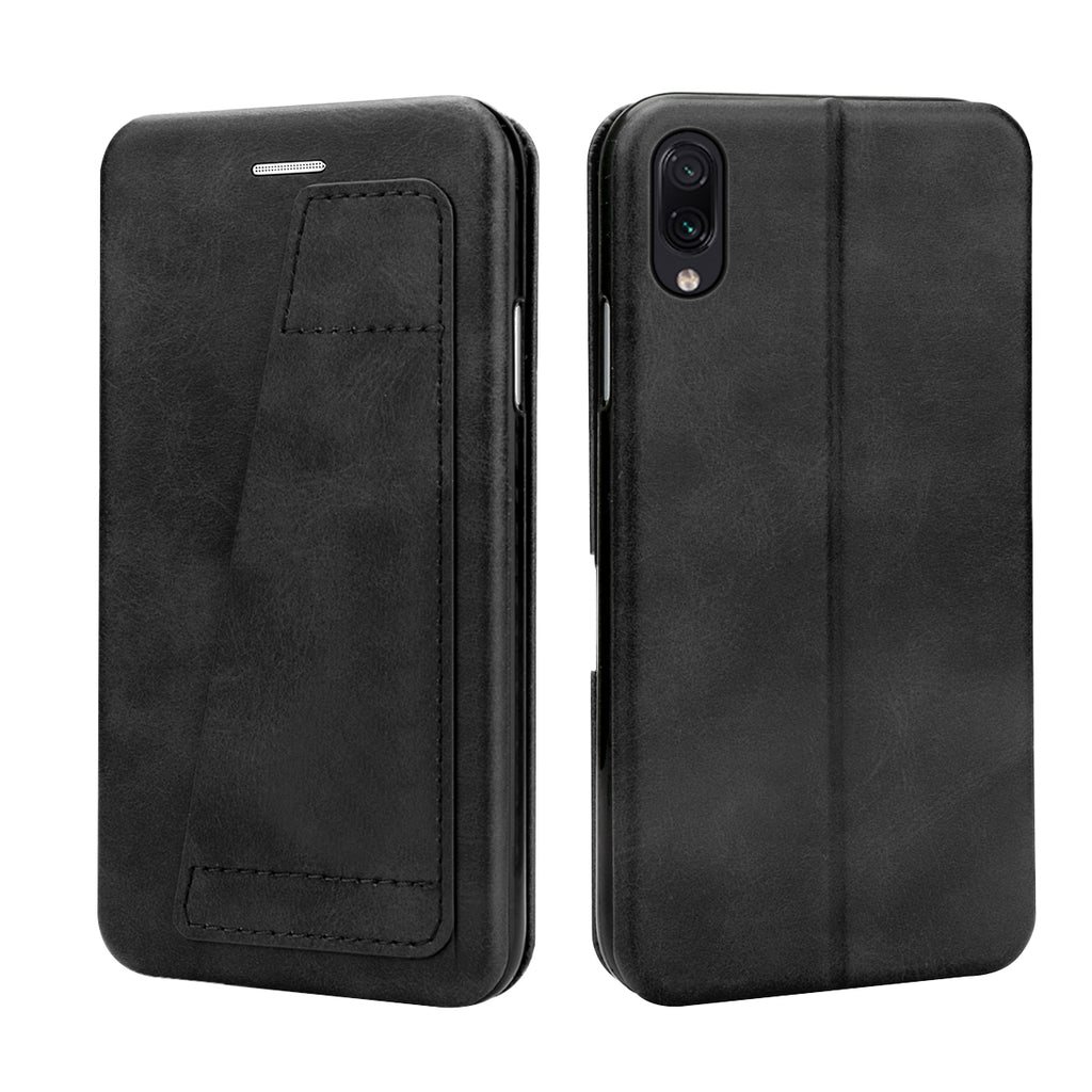 Huawei Y9 2019 Wallet Case Vegan Leather Cover with Card Slots & Stand Black