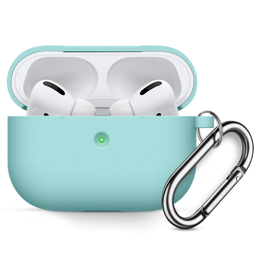 Airpods Pro Case Soft Silicone Protective Thicken Airpods Cover with Anti-Lost Keychain for Apple Airpods 3 Ice Blue