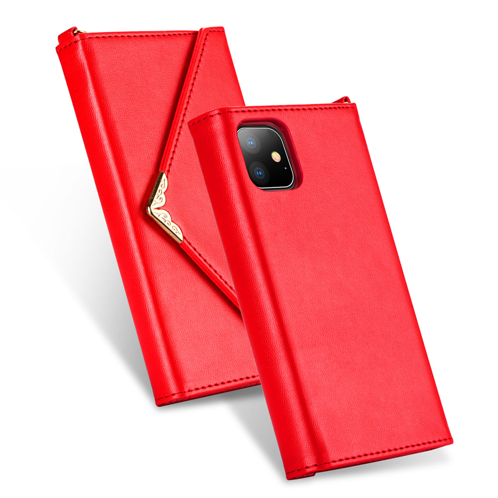 Phone 11 pro Wallet Case Protective Leather Cover Envelope Style Magnetic Purpse for Women Red