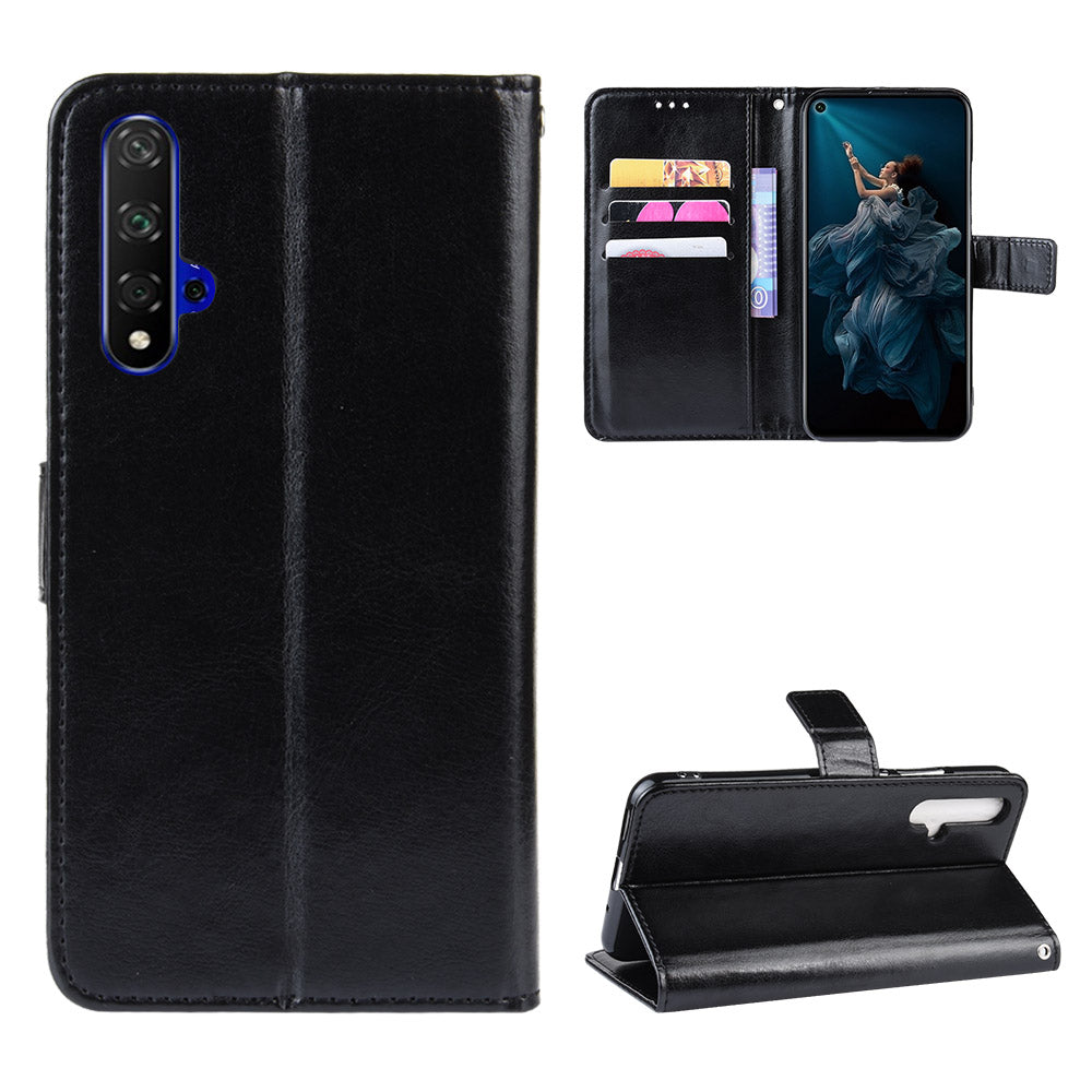 Wallet Case for Huawei Honor 20 Flip Folio Cover with Card Holder Black
