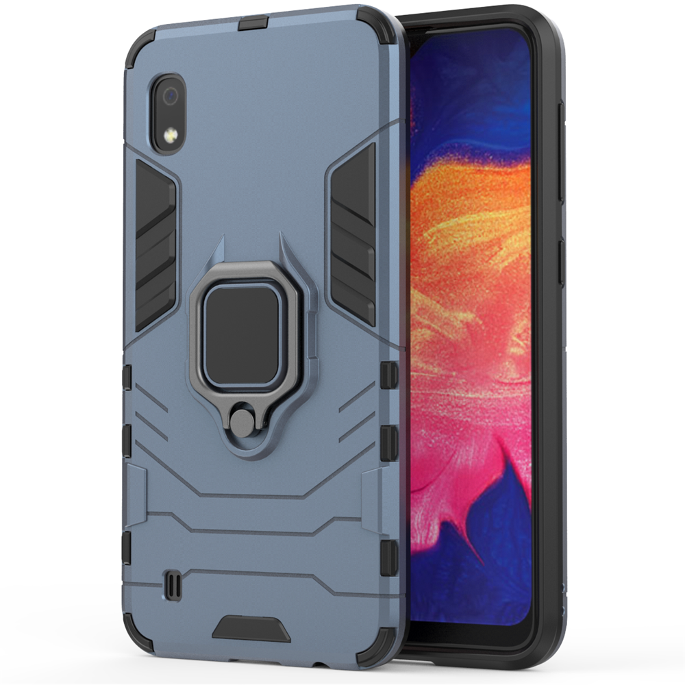 Samsung Galaxy A10 Case Dual Layer Hybrid Shockproof Rugged Case with Ring Stand Grey