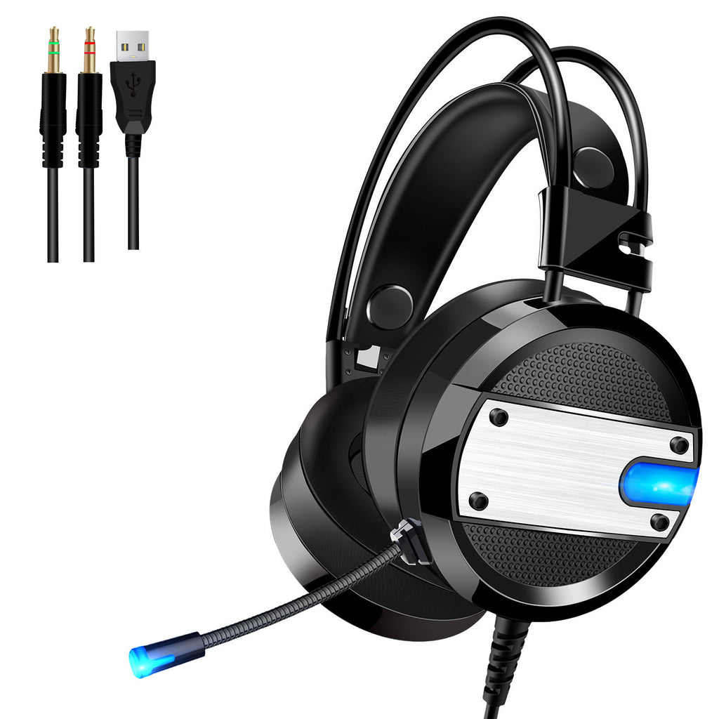 Gaming Headphone with Mic 3.5mm Audio Wire Headset for PS4 Computer + 2in1 Adapter