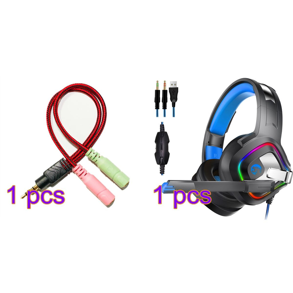 PS4 Gaming Headset with LED Xbox One Comfortable Headphones with Adapter