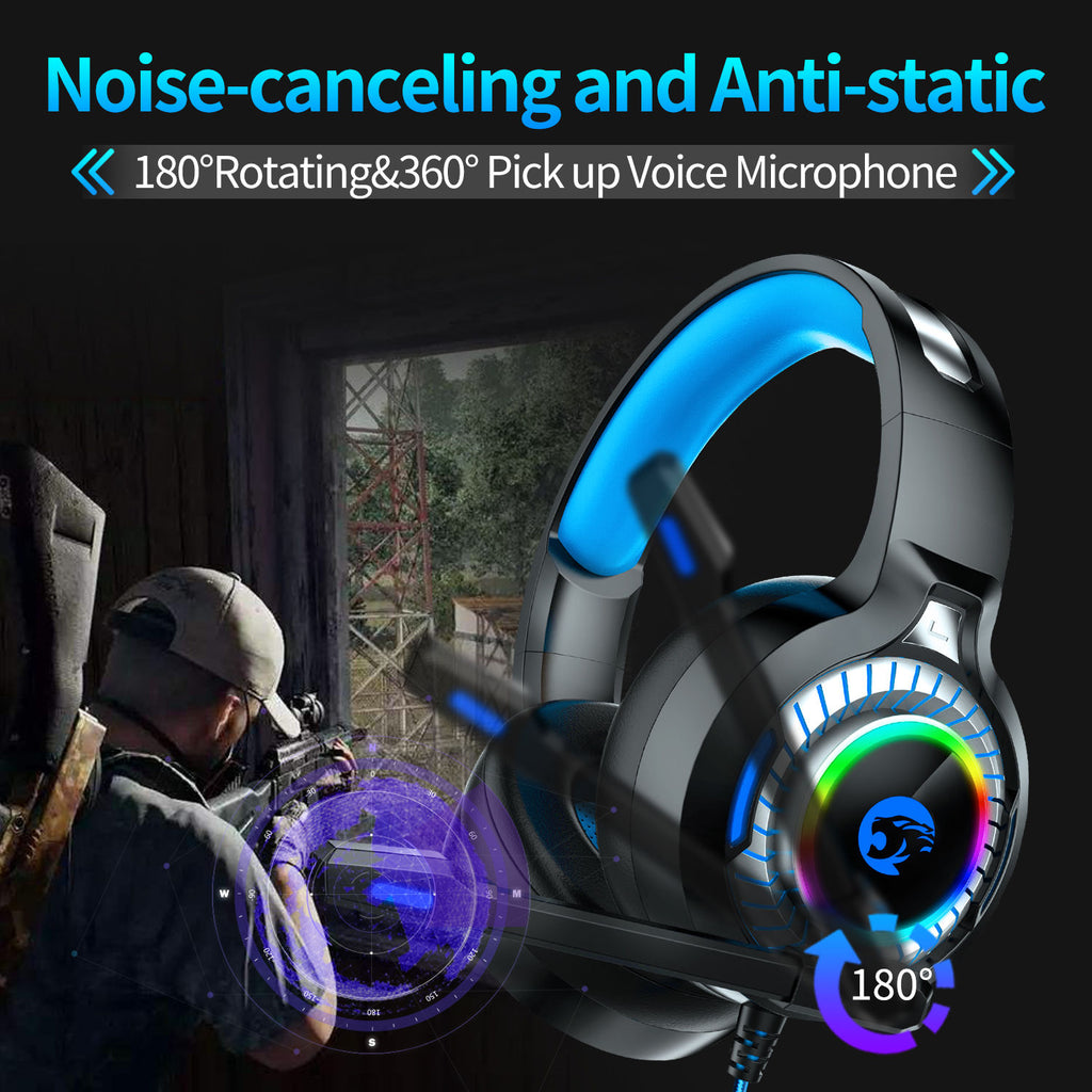 PS4 Gaming Headset with LED Light & Mic Xbox One Headphones