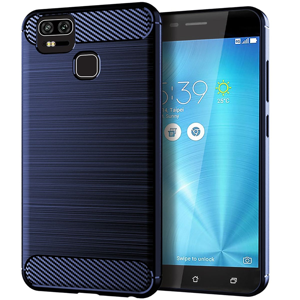 Asus ZenFone 3 ZE554KL Thin Back Case Carbon Fiber Shockproof Phone Cover Blue