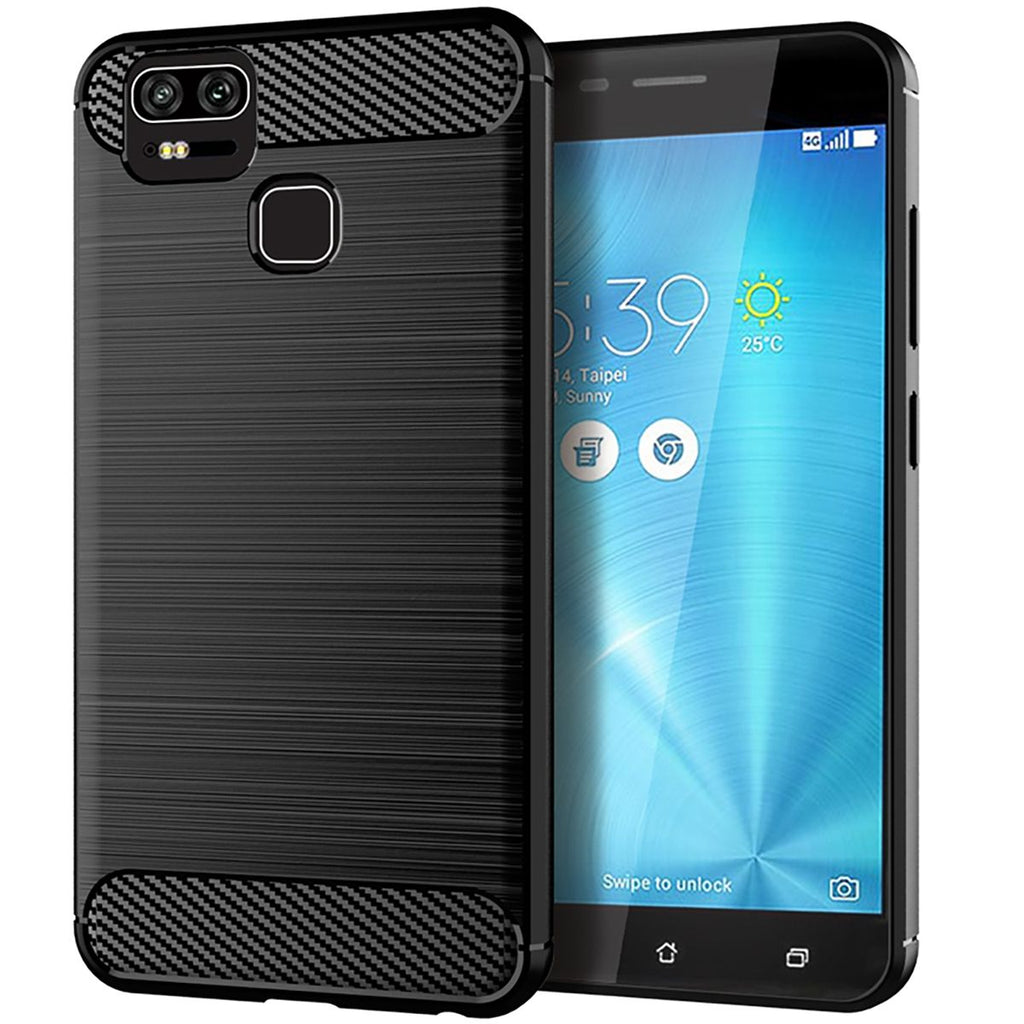 Asus ZenFone 3 ZE554KL Thin Case Carbon Fiber Protective Rugged Cover Black