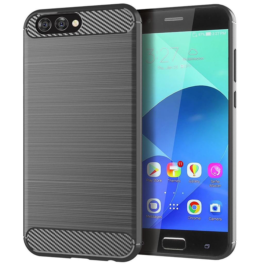 Asus ZenFone 4 ZE554KL TPU Case Protector Carbon Fiber Thin Phone Case Grey