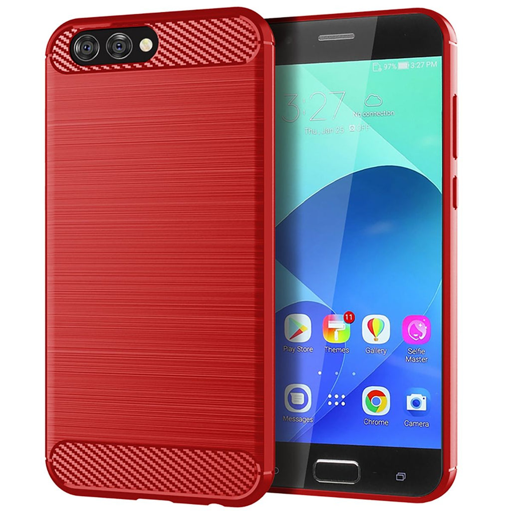 Asus ZenFone 4 ZE554KL TPU Case Shock Absorbent Carbon Fiber Texture Cover Red