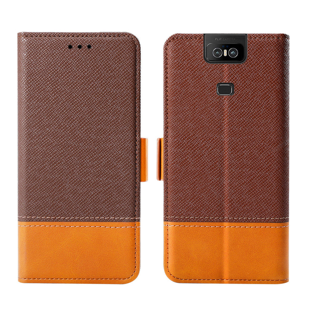 Asus Zenfone 6 ZS630KL Case Leather Flip Wallet Case with Card Slots & Kickstand Brown