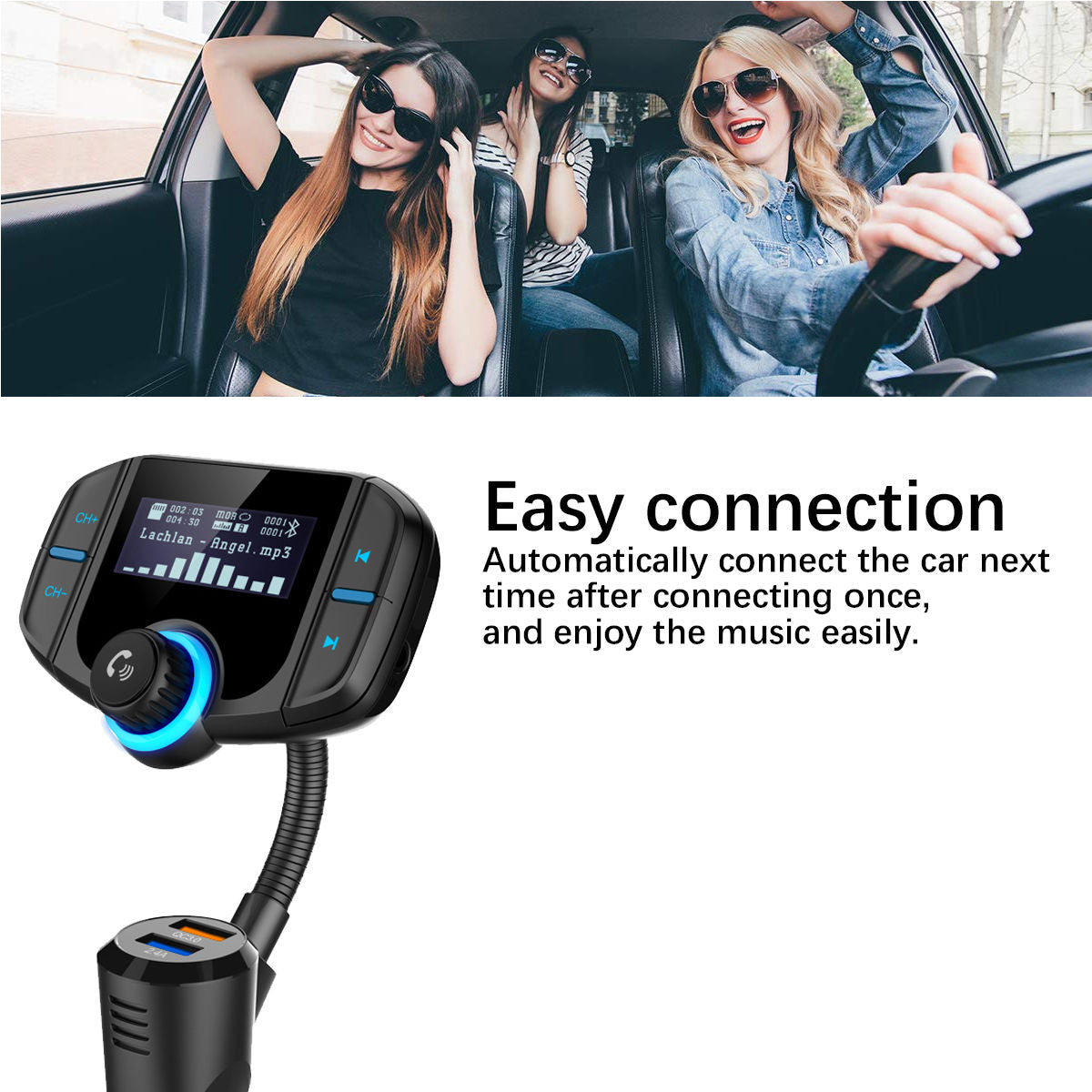 Car Bluetooth FM Transmitter with 3 0 Fast Charging Hands Free