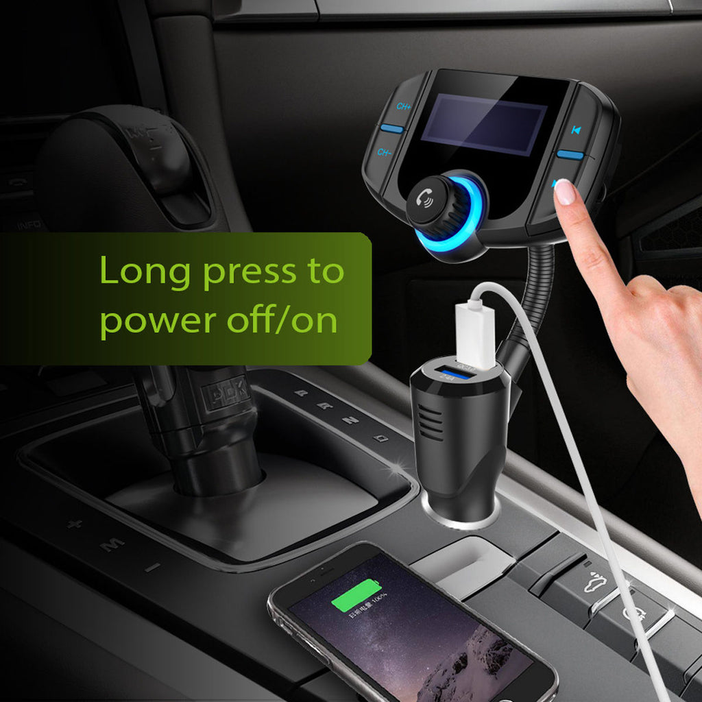 Car Bluetooth FM Transmitter with 3.0 Fast Charging Hands Free Wireless Audio Player
