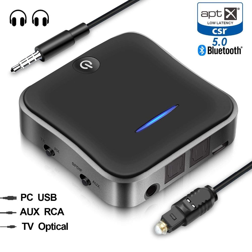 Bluetooth 5.0 Transmitter and Receiver Optical RCA 3.5mm Audio Adapter with aptX Low Latency for TV Car Radio Mobile Black