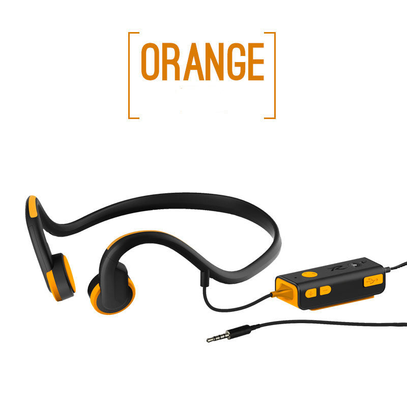 Wireless Earbuds Bone Conduction Bluetooth Earphones Built-in Mic with Remote Controller Orange