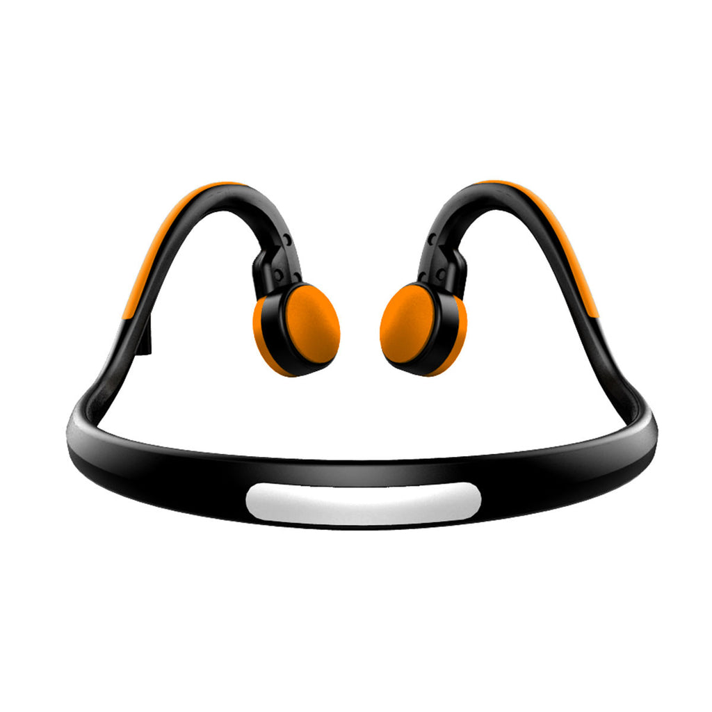 Bluetooth Bone Conduction Headphones Sweatproof Sport Earbuds Noise Cancelling Headsets Orange