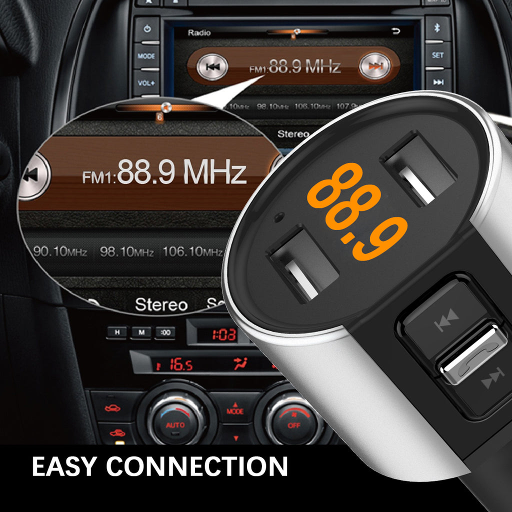 Bluetooth FM Transmitter for Car In-car Radio Music Player Hands-free Call