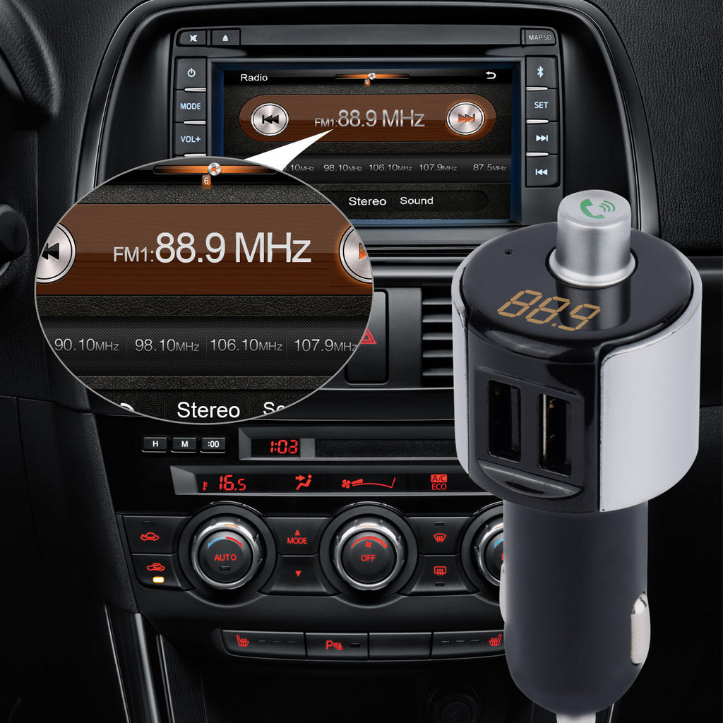 FM Transmitter Wireless Radio Adapter Dual USB Car Charger Bluetooth