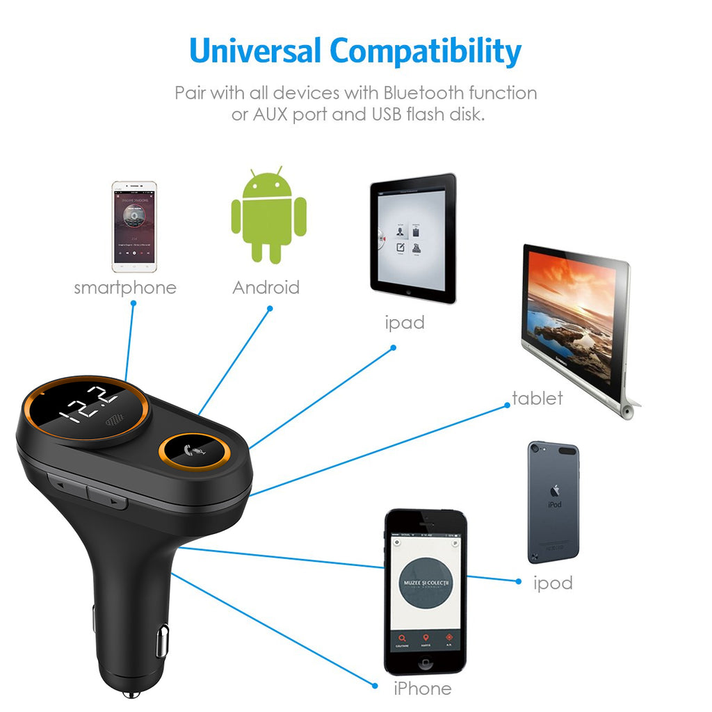 Bluetooth FM Transmitter for Car Wireless In-car Radio Car Charger