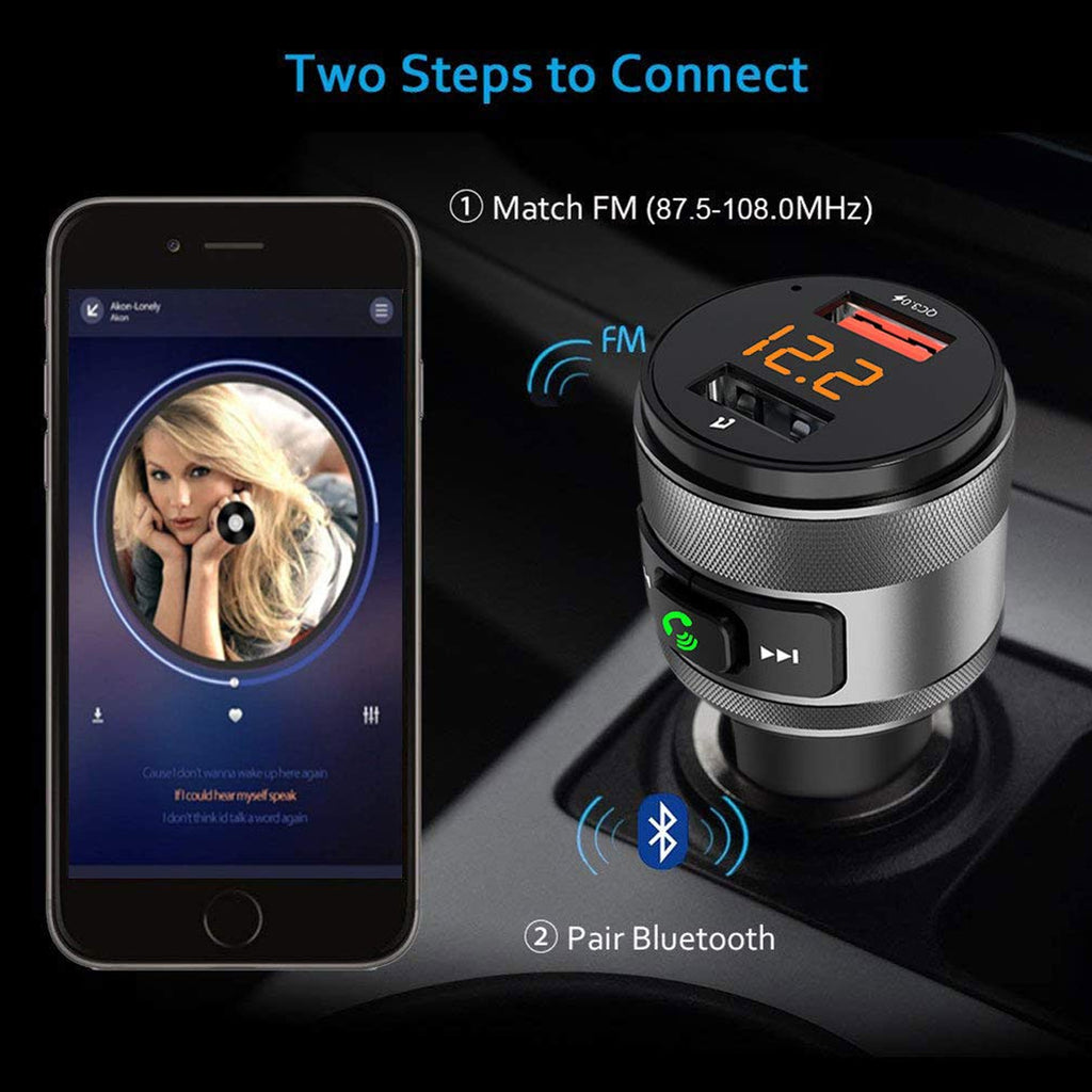 Bluetooth FM Transmitter Wireless Car Audio Player Hands-free Voltmeter Charger