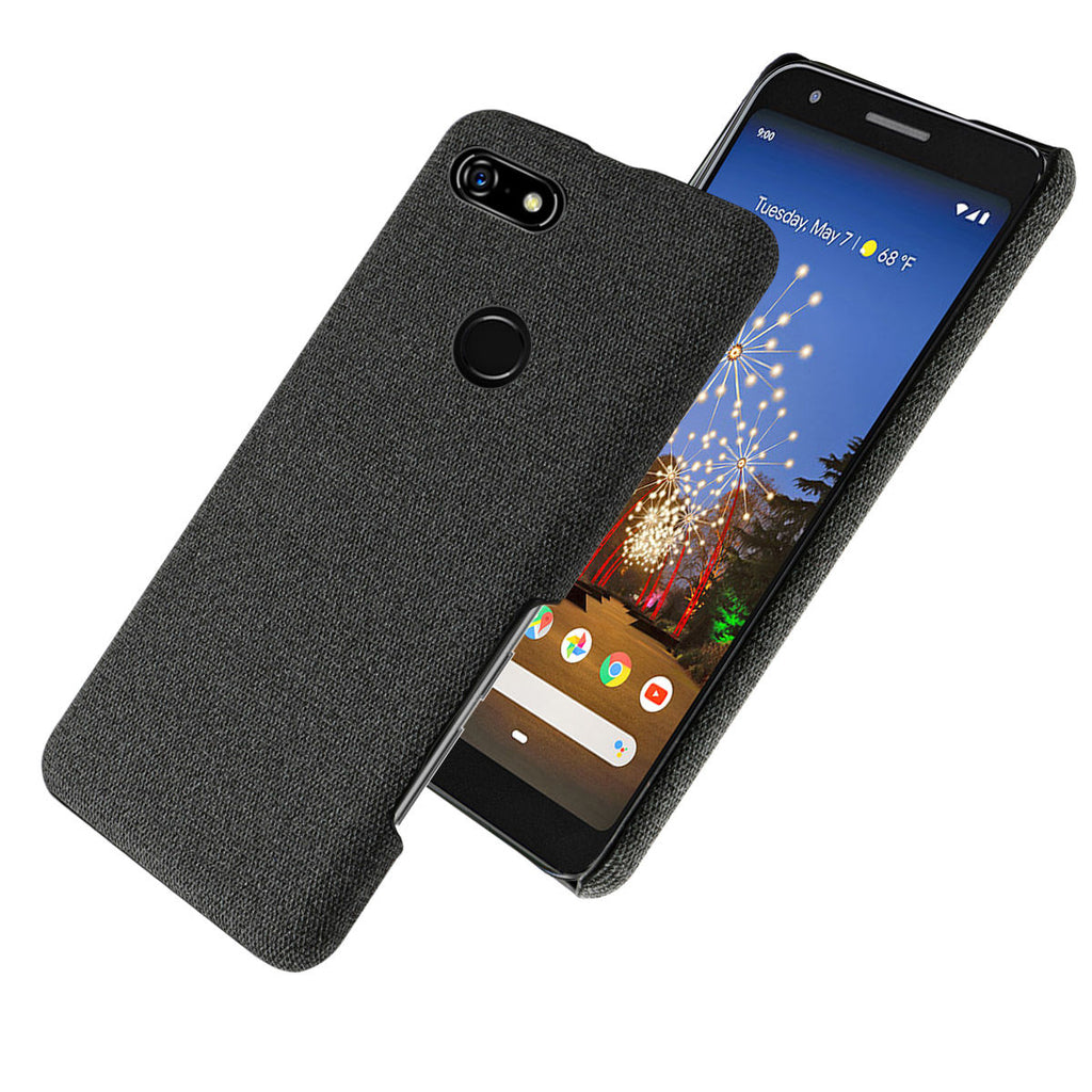 Case for Google Pixel 3a XL PC Fabric Hard Cover Protective Skin Black