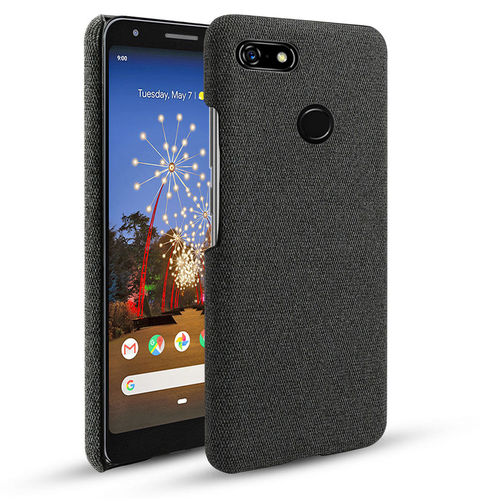 Case for Google Pixel 3a XL PC & Cloth Fabric Hard Cover Protective Skin Black