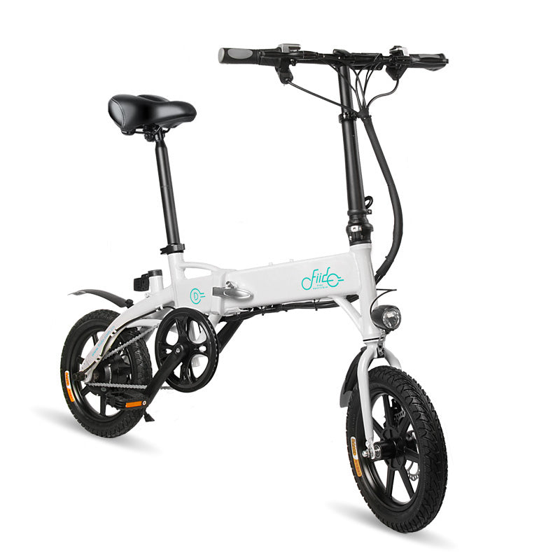 Foldable Electric Bicycle Mini E-Bike with Pedals Lightweight Electric Bike White