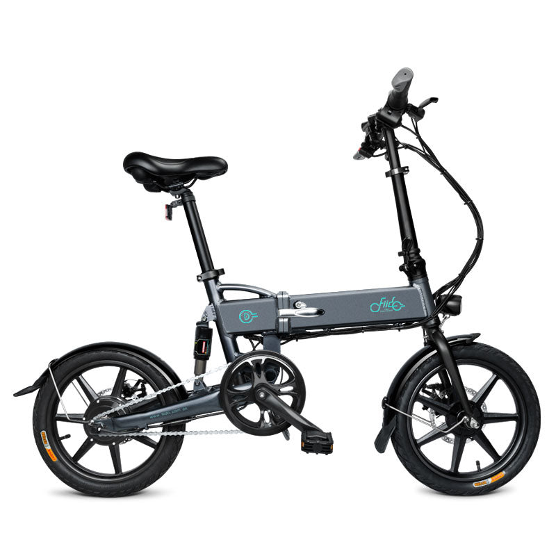 Electric Bicycle Mini Foldable Aluminum E-bike with 16 inch Pedals Black