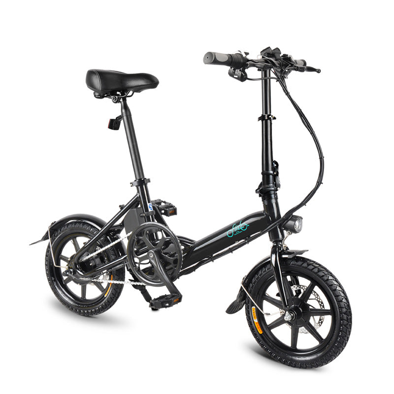 Folding Electric Bicycle 250W E-bike Portable Bike with 15 Mile Range Speed Setting Black