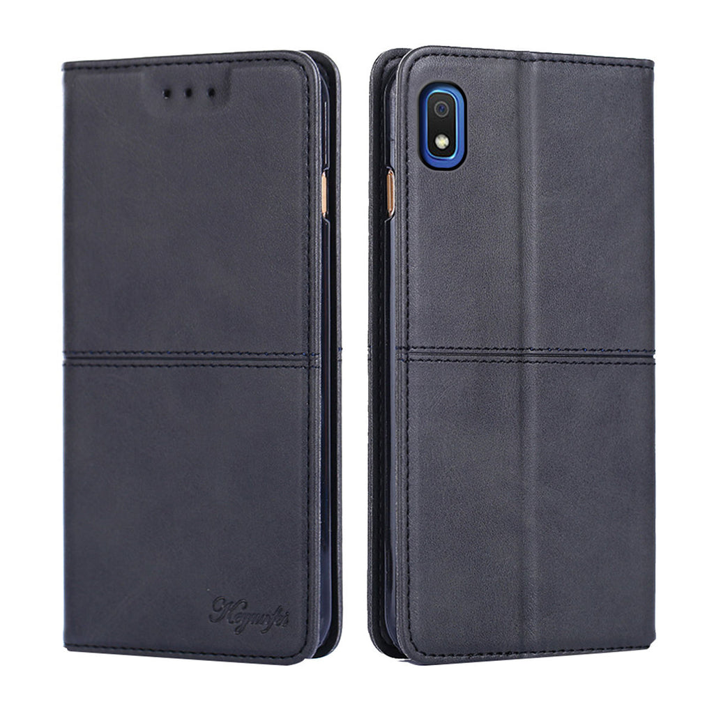 Samsung Galaxy A10 Leather Wallet Case Flip Stand Cover Cattle Grain Pattern Black