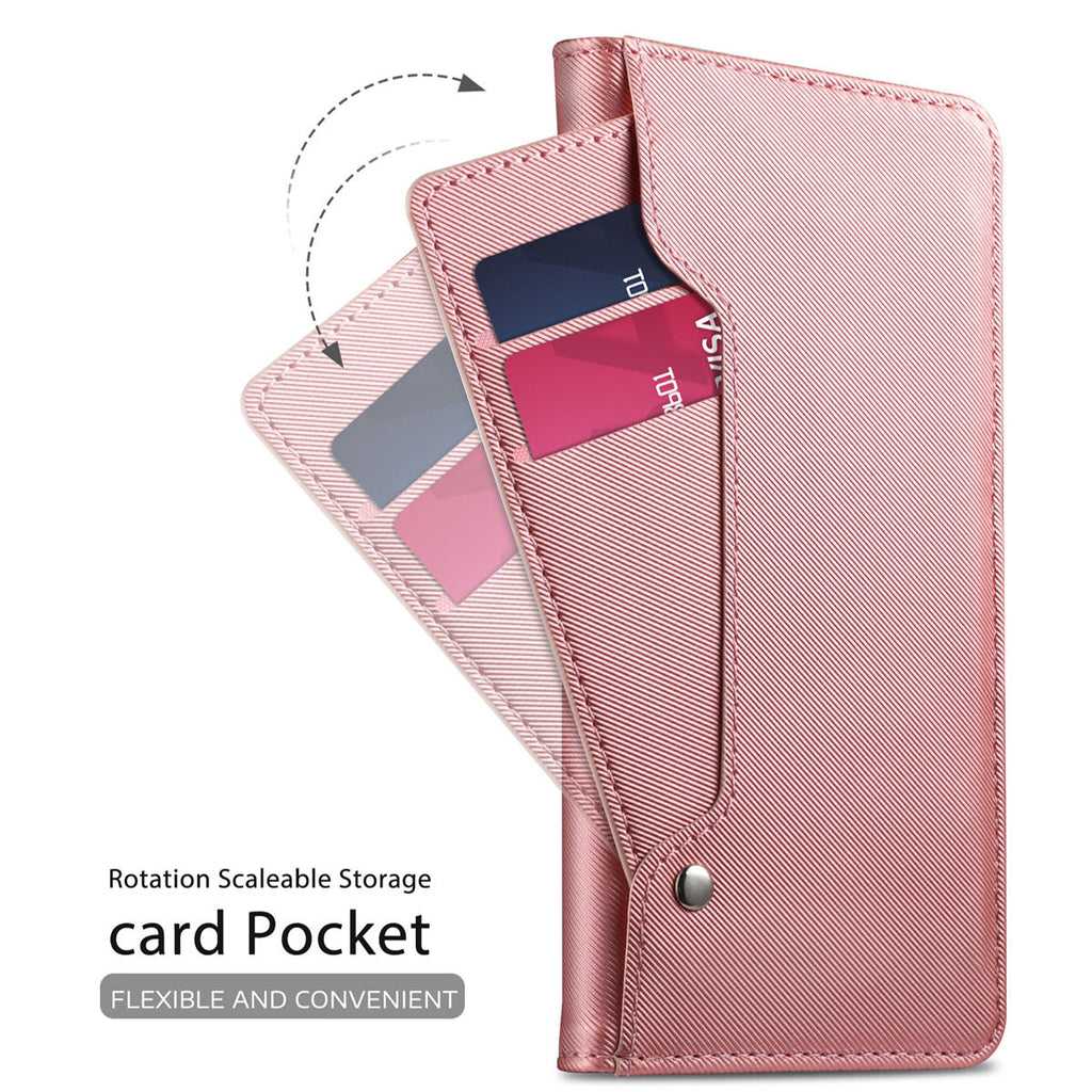 Galaxy A20 Card Holder Case with Kickstand Mirror for Women Wallet Leather Case Rose Gold