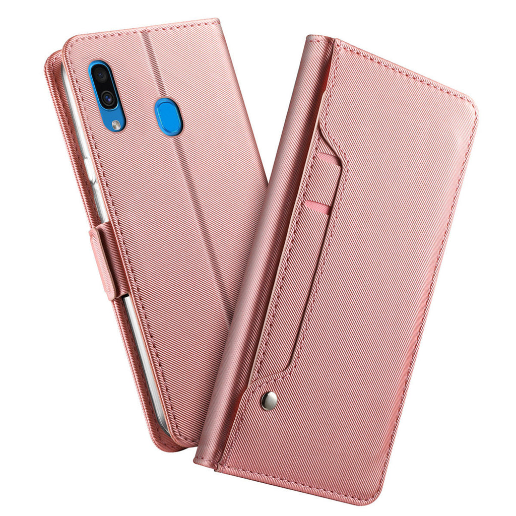 Galaxy A20 Mirror Wallet Case with Kickstand Card Holder for Women Rose Gold