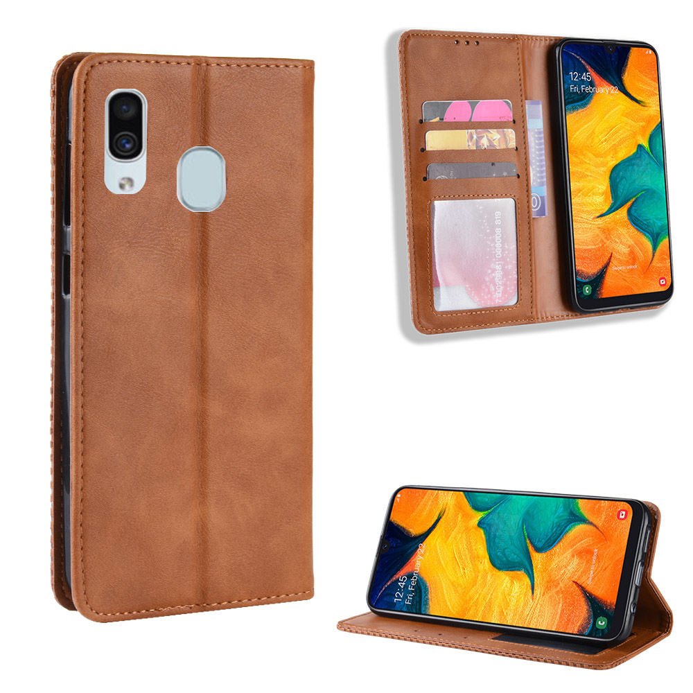 Samsung Galaxy A30 Leather Case with Card Slots Kickstand Magnetic Closure Brown