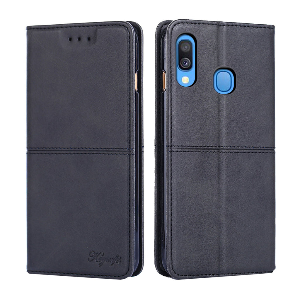 Samsung Galaxy A40 Wallet Case Flip Stand Magnetic Closure Cattle Grain Pattern Black